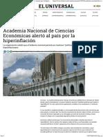 Academia Nacional de Ciencias Económicas Alertó Al País Por La Hiperinflación