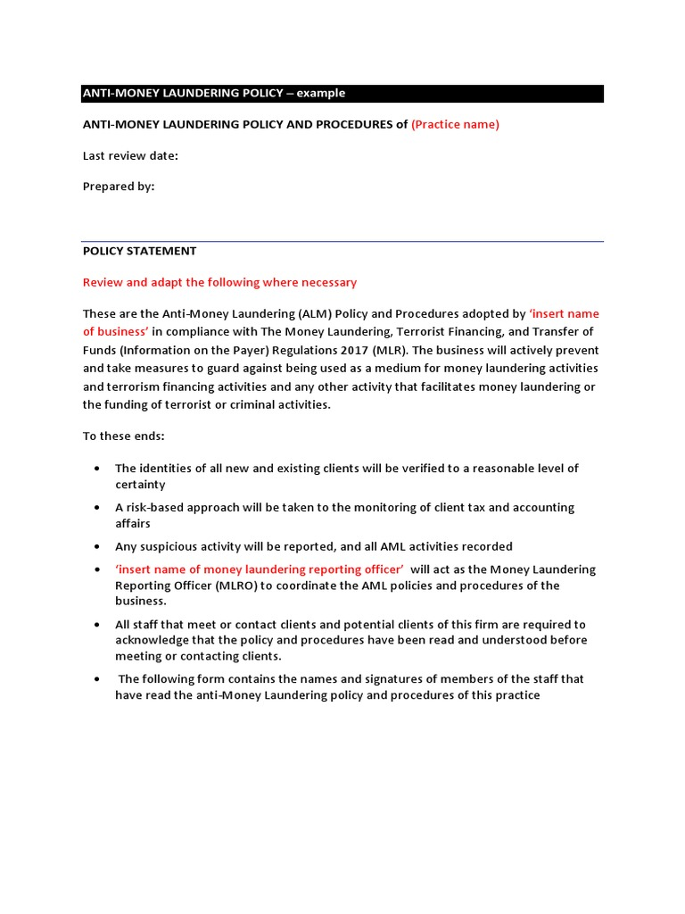 Iab Example Anti Money Laundering Aml Policy Statement Money