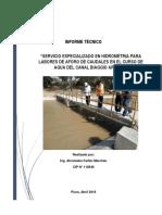 Informe Tecnico Aforo de Agua Canal Biaggio Arbulu