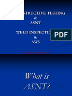 Non Destructive Testing and ASNT Weld Inspection and Aws