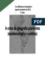Teoria e Método Em Geografia I .Tonico.positivismo.usp