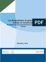 Las Desigualdades de Género en El Trabajo No Remunerado 2016 INMUJERES