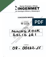 Concesion Minera MINING ROCK SOLID