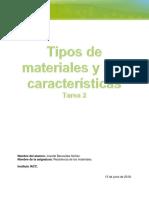 Tarea 2 Tipos de materiales y sus características.