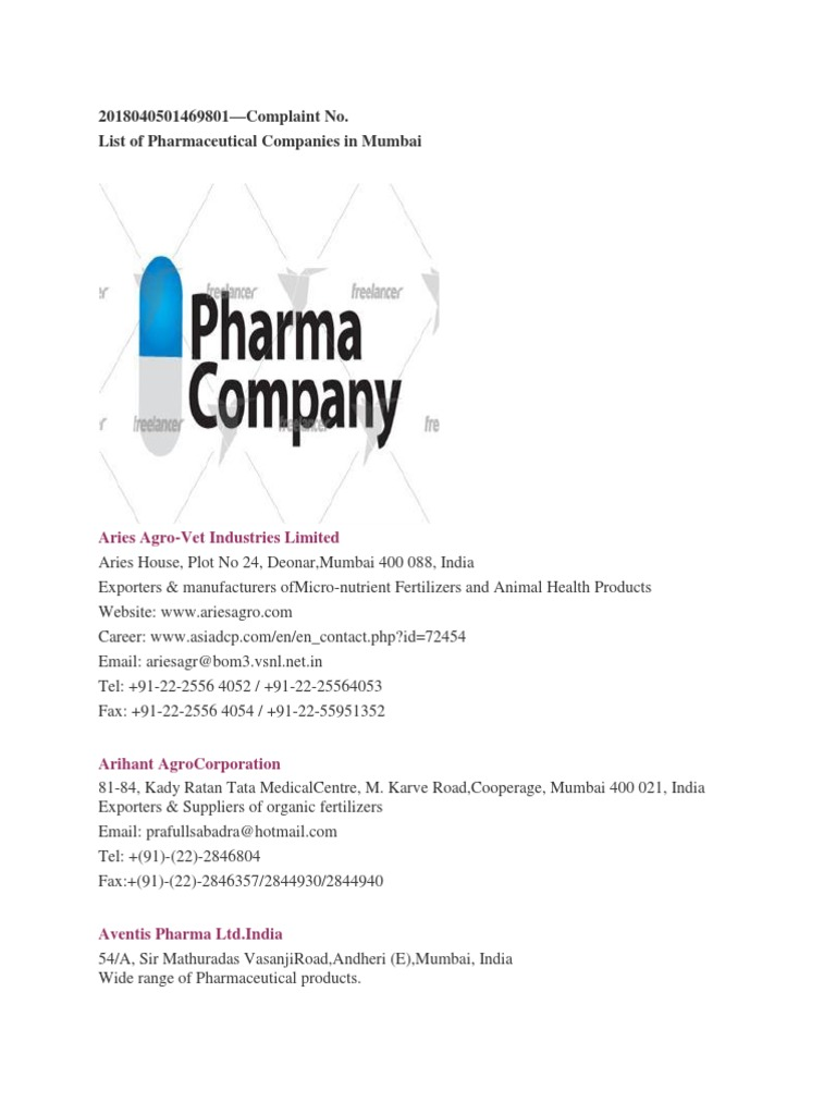 List of Pharmaceutical Companies in Mumbai | Mumbai