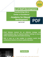 Revamping of DSD into Quaid -e - Azam Academy for Educational Development QAED