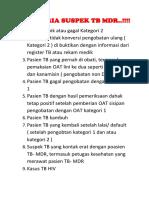 9 Kriteria Suspek Tb Mdr
