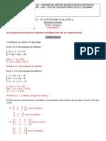 ALG - Atv. 10 - Av - Sistemas Lineares -Gabarito