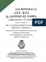 """Guadalcanal en """"Memorias historicas  del Rey D. Alonso el Sabio""""."""