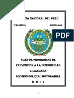 PLAN DE PROGRAMAS DE PREVENCIÓN A LA INSEGURIDAD CIUDADANA