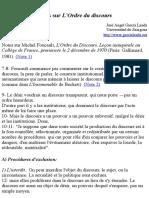 Notes Sur L'Ordre Du Discours (sur Foucault)