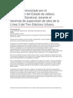 Recorrido de Supervisión de Obra de La Línea 3 Del Tren Eléctrico Urbano