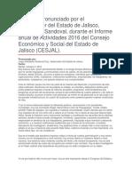 Informe Anual de Actividades 2016 Del Consejo Económico y Social Del Estado de Jalisco (CESJAL)