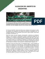 Despenalizacion Del Aborto en Argentina