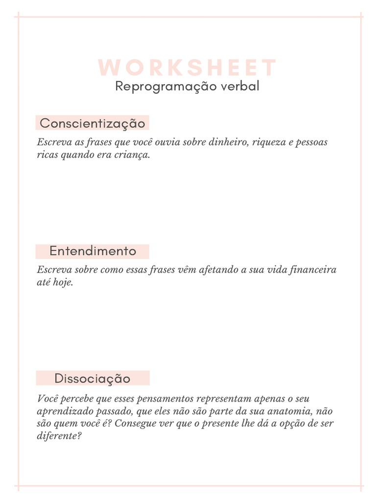 Worksheet Reprogram a Cao Verbal