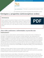 Estrógeno y progestina (anticonceptivos orales)