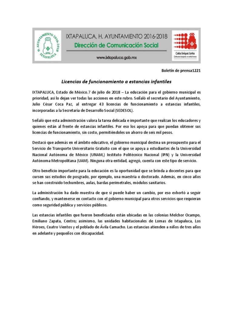 Boletín Entregan Licencias De Funcionamiento A Guarderias