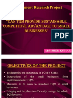 """MRP Presentation on """"CAN TQM SUSTAIN COMPETITIVE ADVANTAGE TO SMALL AND MEDIUM ENTERPRISES"""""""