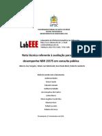 Nota técnica referente à avaliação para a norma de desempenho NBR 15575 em consulta pública