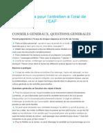 Questions Pour l'Entretien EAF