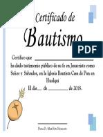Certificado Bautismo