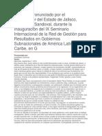 Inauguración Del IX Seminario Internacional de La Red de Gestión Para Resultados en Gobiernos Subnacionales de América Latina y El Caribe