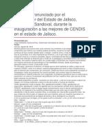 Inauguración a Las Mejores de CENDIS en El Estado de Jalisco