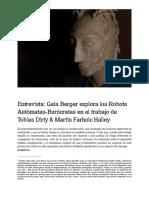 Entrevista Gala Berger Explora Los Robots Automatas Burocratas en El Trabajo de Tobias Dirty n Farholc Halley