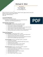 resume- teaching