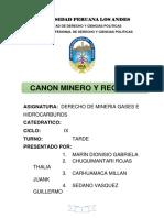 Canon Minero y Regalias Mineras