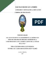 EL AUTOCONCEPTO Y EL RENDIMIENTO ACADÉMICO EN NIÑOS DE TERCERO DE PRIMARIATG-4023