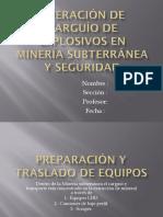 Operación de Carguío de Explosivos en Minería Subterránea