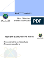 Rmct Tutorial 2 Objectives and Aims