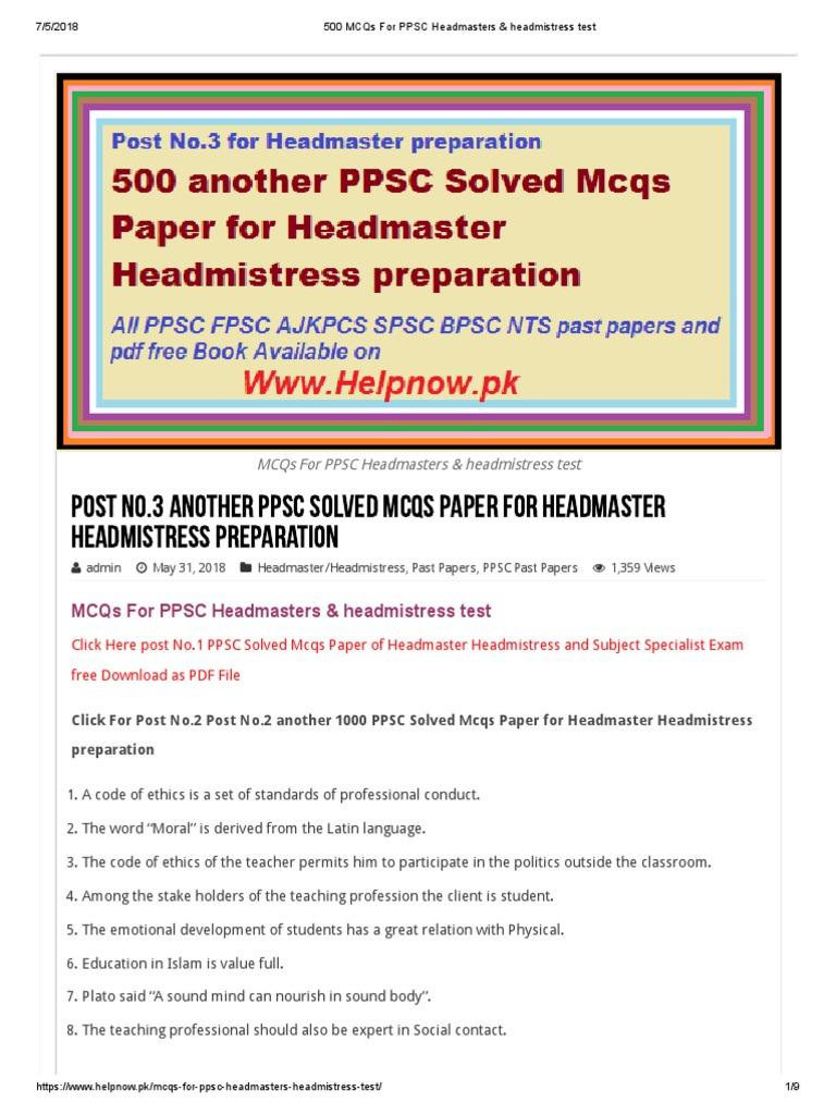 500 MCQs for PPSC Headmasters & Headmistress Test  1 | Teachers