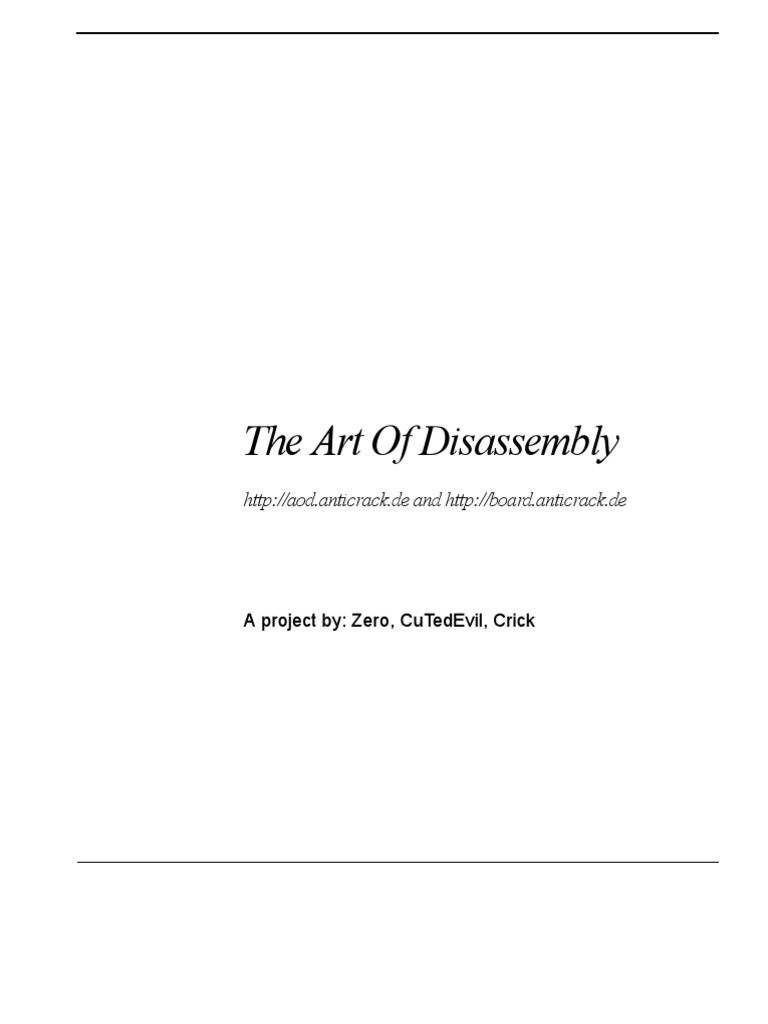 The Art Of Disassembly | System Software | Areas Of Computer Science
