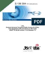 3gpp Ts 36 304 (Lte Ue Procedures)