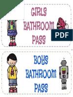 Bathroom Passes Freebie