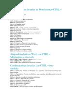 Combinaciones de Teclas en Word Usando CTRL
