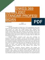 Permenkes 369 Tahun 2007 Standar Profesi Bidan
