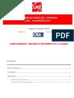 Observatoire de l'opinion - Octobre 2010 - Cotes de popularité