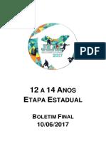 JEAL 2017 - 12 a 14 Anos - Etapa Estadual - Boletim Final