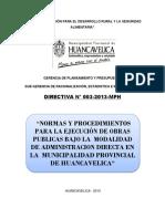 Directiva 003-2013 Normas y Procedimientos Para Ejecucion de Obras Por Adminsitracion Directa