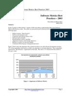 Software Metrics Best Practices 2003