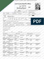 Booking sheet from Elise Mizrachi arrest in Broward County