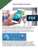 WiFi Texnologiyasi