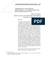 Desobediencia Epistemica - A Opção Descolonial - Walter Mignolo
