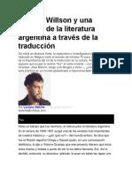 Patricia Willson y Una Historia de La Literatura Argentina a Través de La Traducción