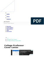 College Professor Cover Letter Sample