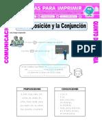 Ficha Preposiciones y Conjunciones Para Quinto de Primaria