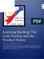 The Lean Startup and The Product Owner - Learning Backlog